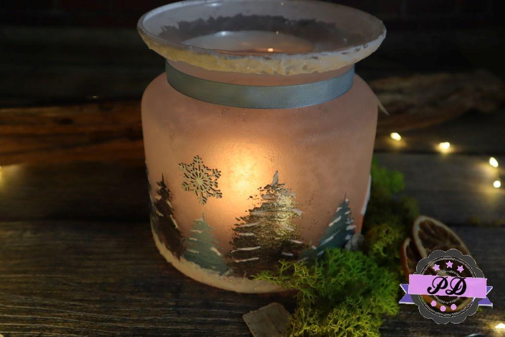 Zimowy lampion decoupage