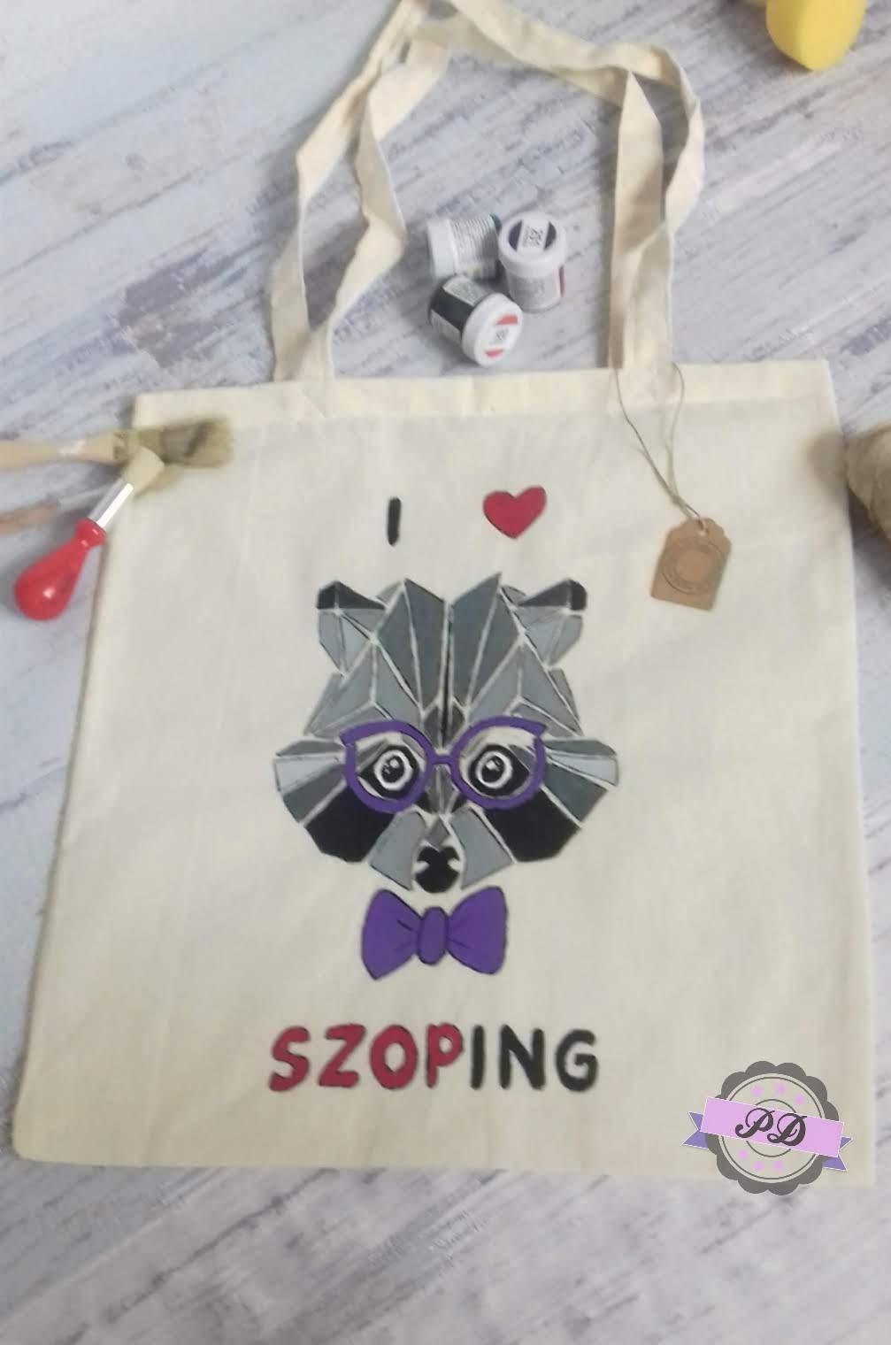 Lniana torba na zakupy ręcznie malowana