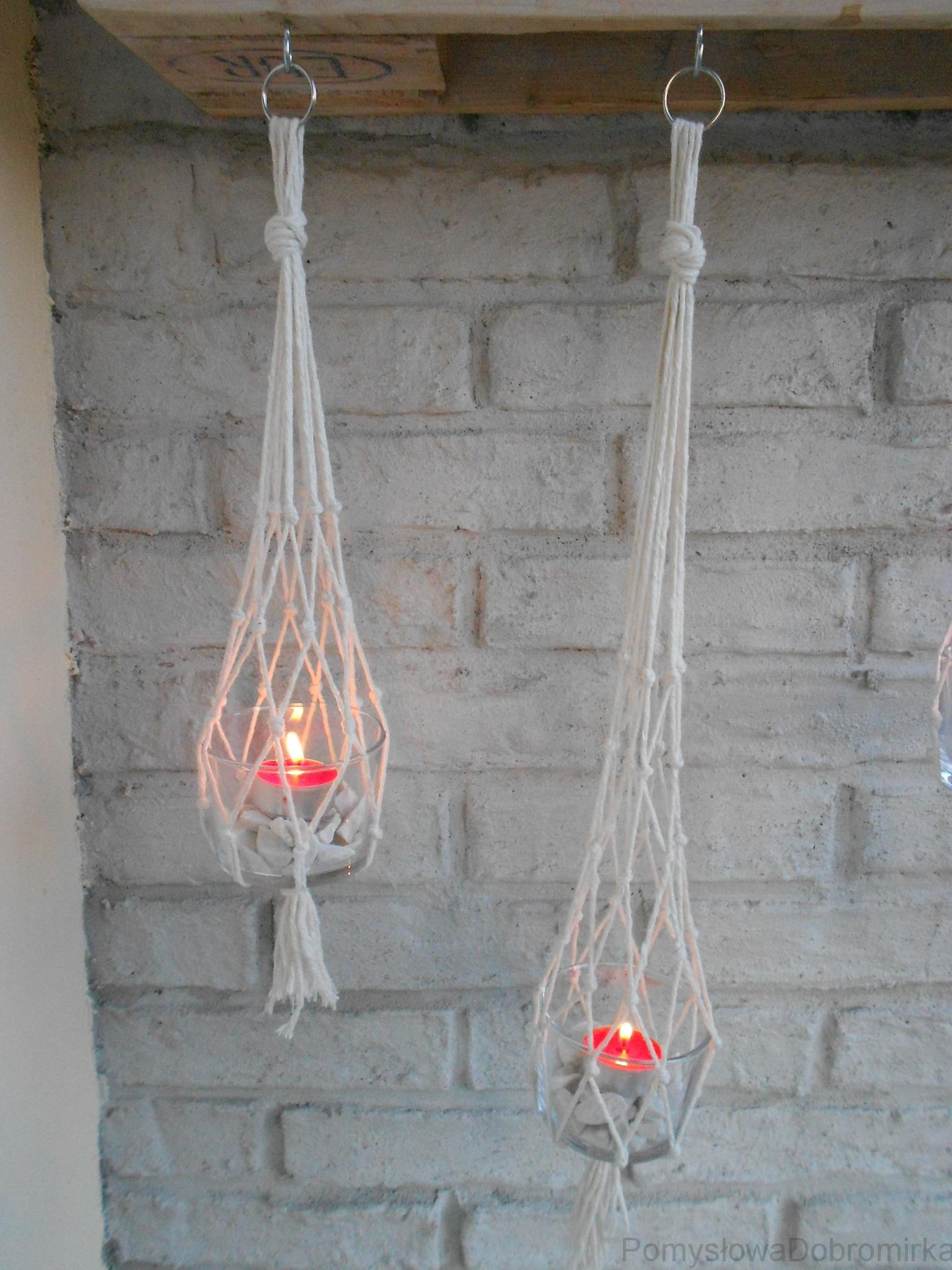 Makramowe świeczniki