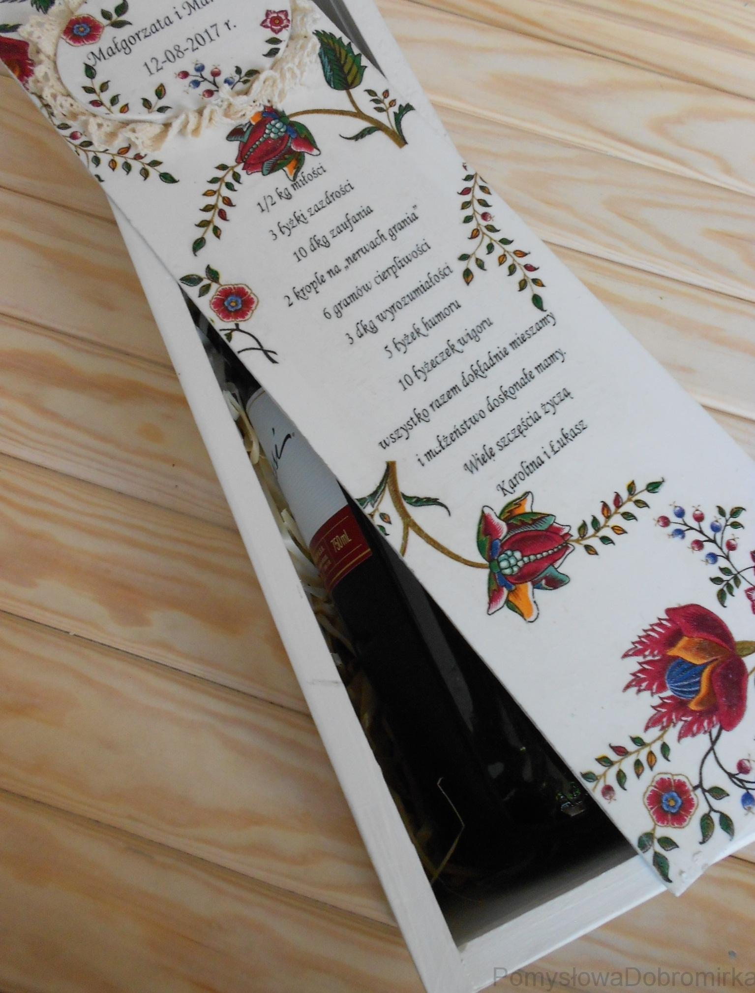 Skrzynka na wino decoupage