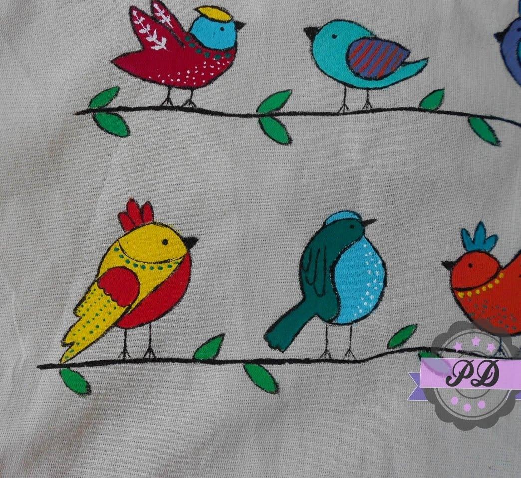 Torba z ptakami ręcznie malowana