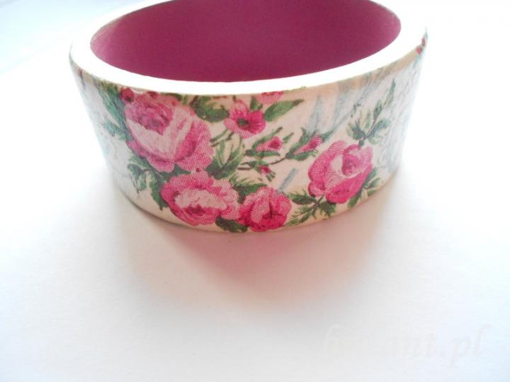 Bransoletka decoupage z różami