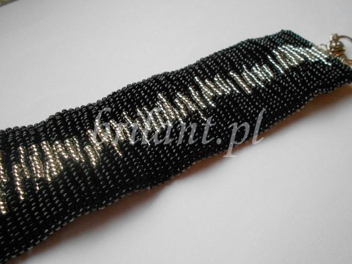 Czarno - srebrna szeroka bransoleta